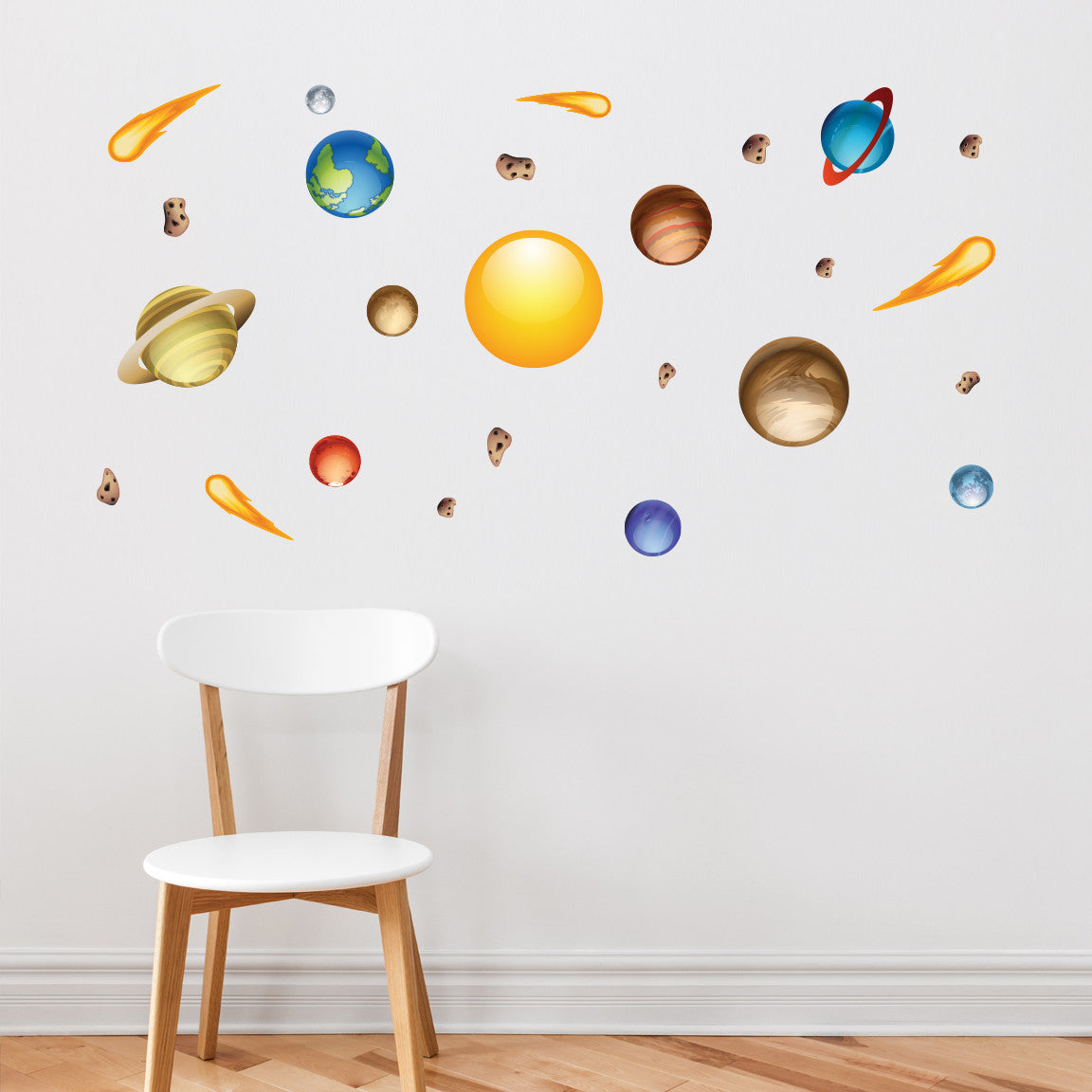 Nursery Mount wall decals - Solar System on wall behind chair!!