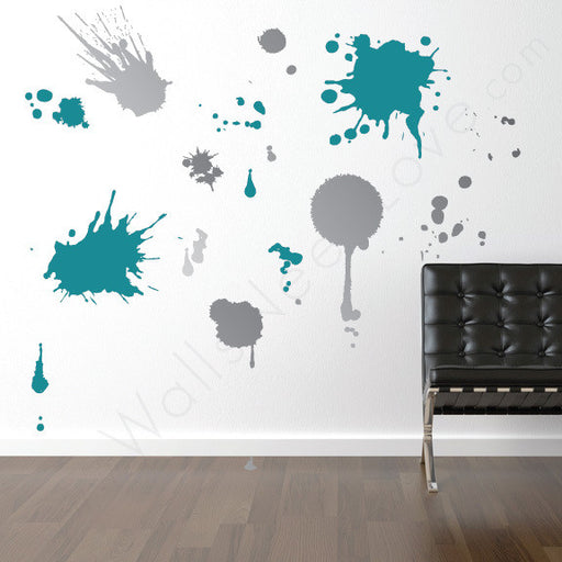 Ink Splatz Wall Decal On Wall Behind Chair | Lifestyle