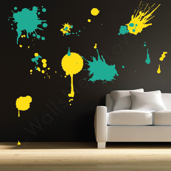 Ink Splatz wall decal on black wall | lifestyle