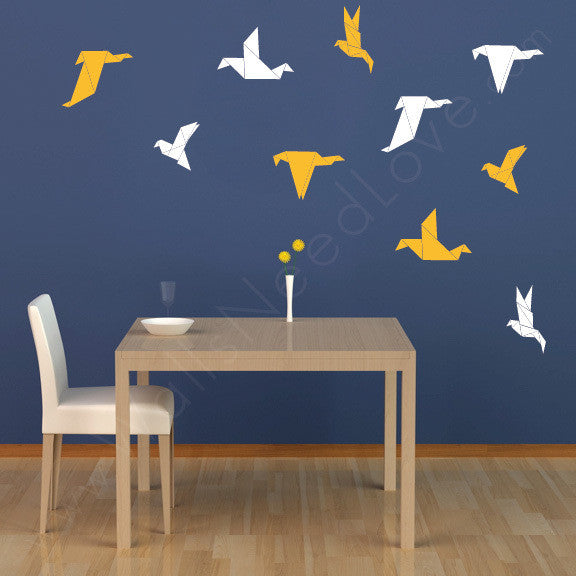 Origami Bird  wall decal on wall behind dining table