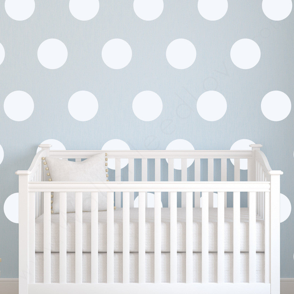 Nursery Mount wall decals - Wall Dots on wall behind cradle!!