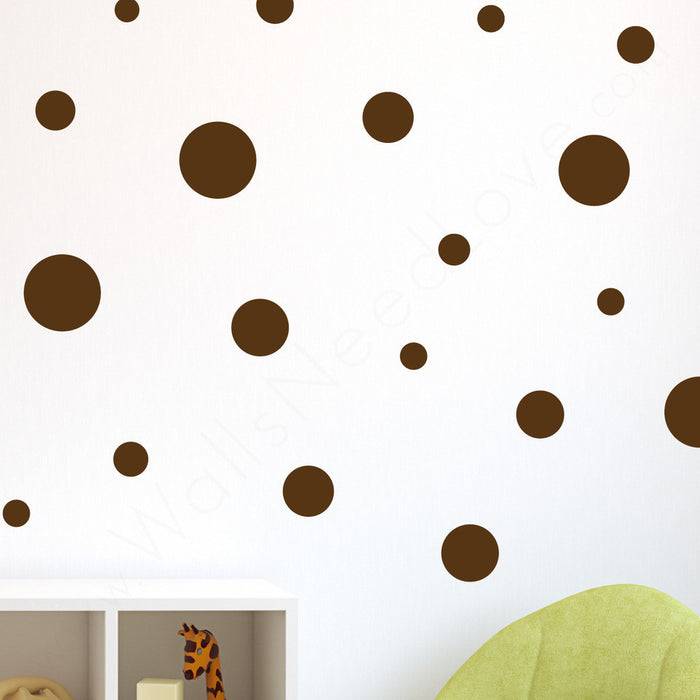 Assorted Polka Dots wall decal on wall in living room | lifestyle