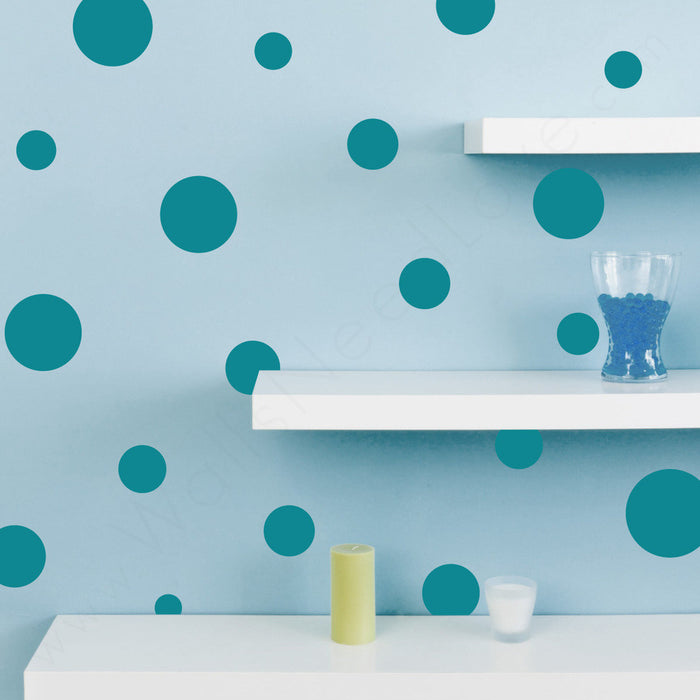 Assorted Polka Dots wall decal on wall  | lifestyle