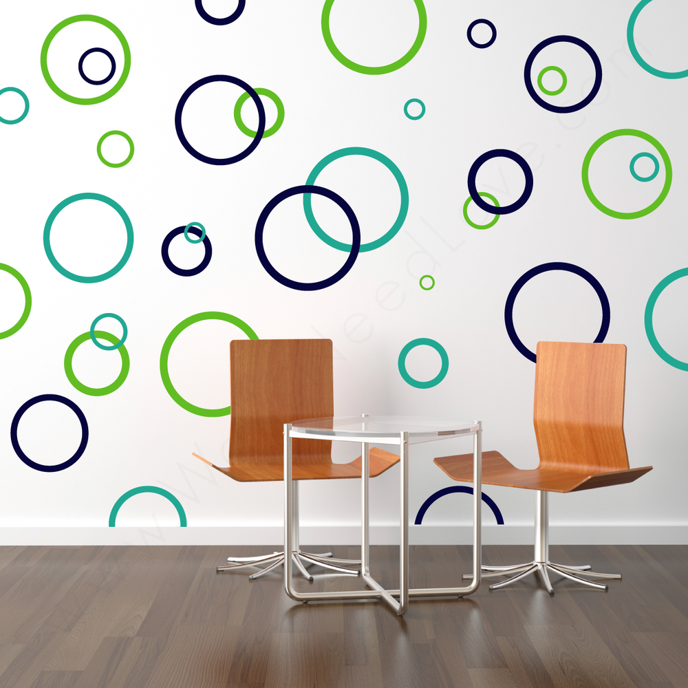 Rings u0026 Dots wall decal on wall behind the chairs | lifestyle