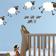 Nursery Mount wall decals - Happy Sheepies on wall | lifestyle