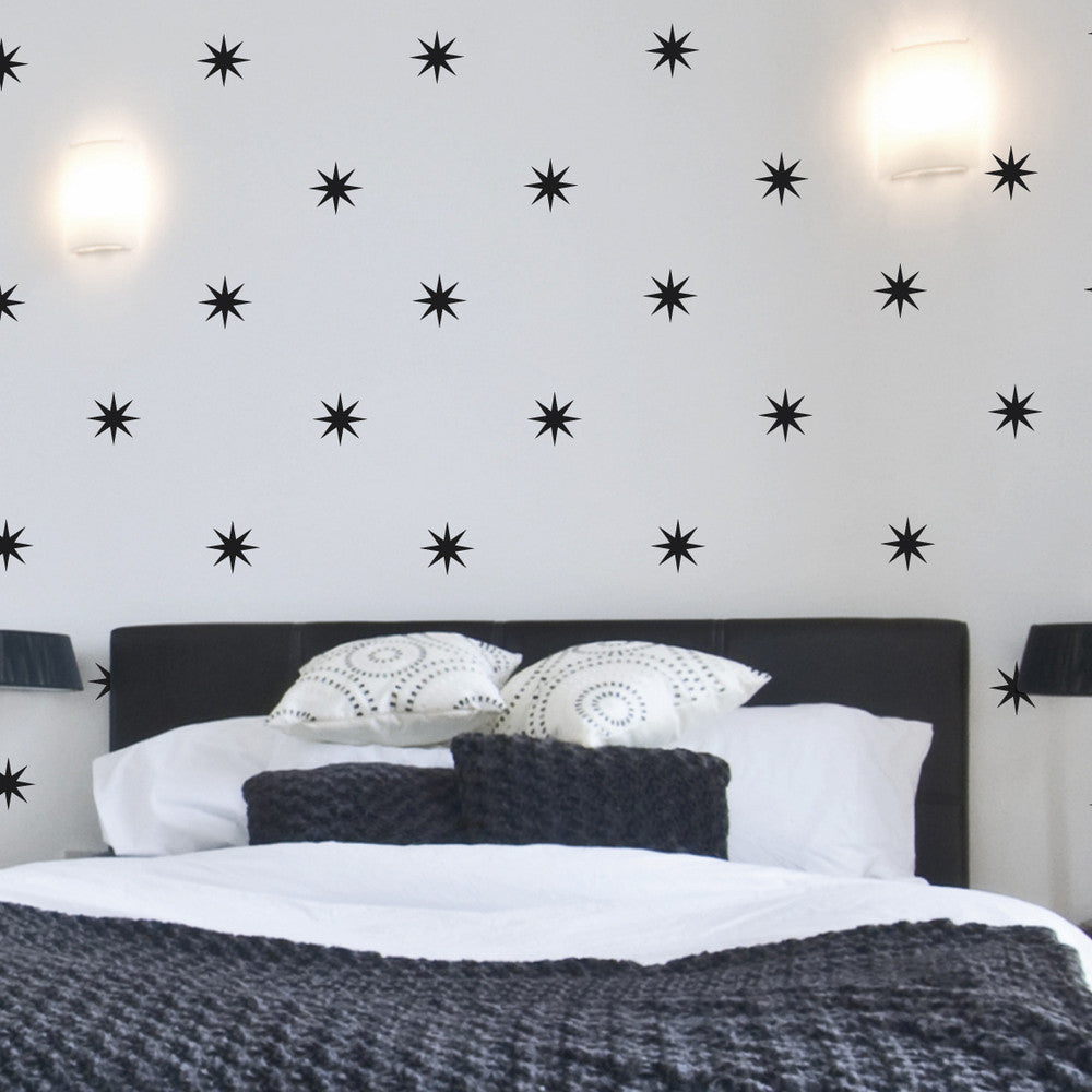 Coronata Stars wall decal above bed | lifestyle