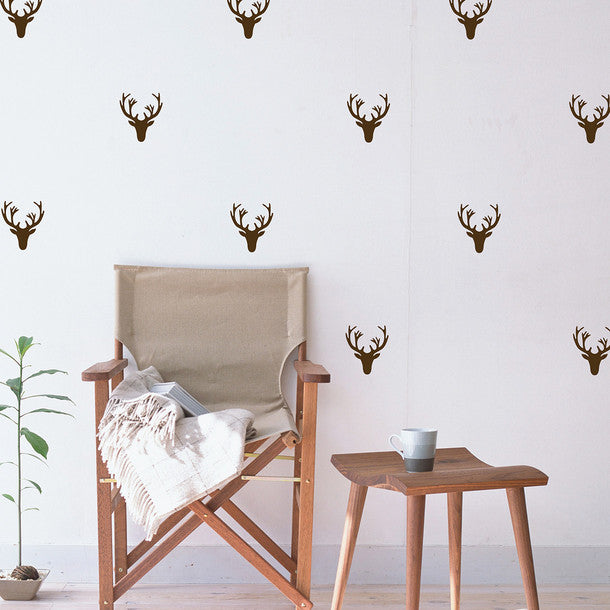 Deer & Antler Mini-Pack Wall Decal behind chair | lifestyle