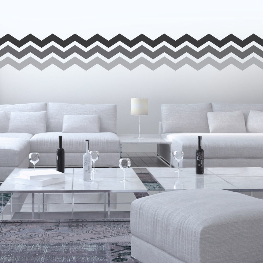 "3"" Wide Chevrons wall decal on wall behind bed 
