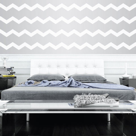 3 wide chevrons wall decal on wall behind bed lifestyle - Design Wall Decal