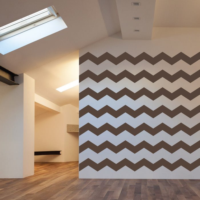 "4"" Wide Chevron wall decal on wall 
