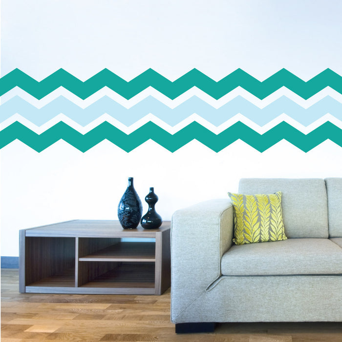 "4"" Wide Chevron wall decal on wall in living room 