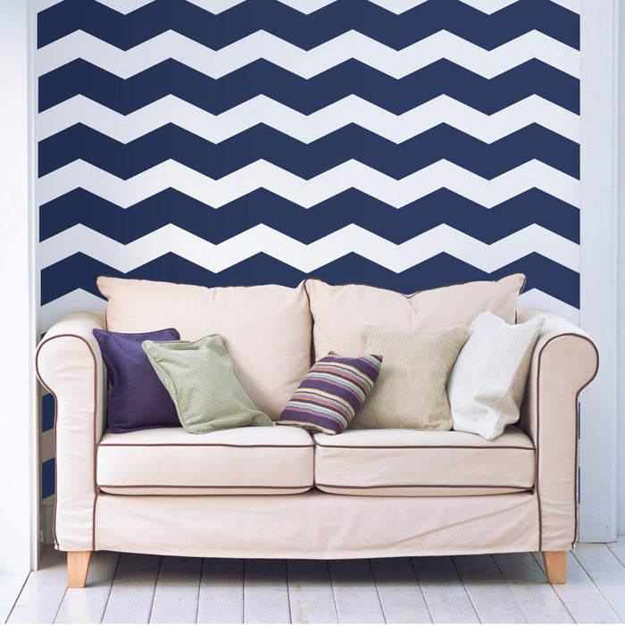 "6"" Wide Chevrons wall decal behind Sofa 