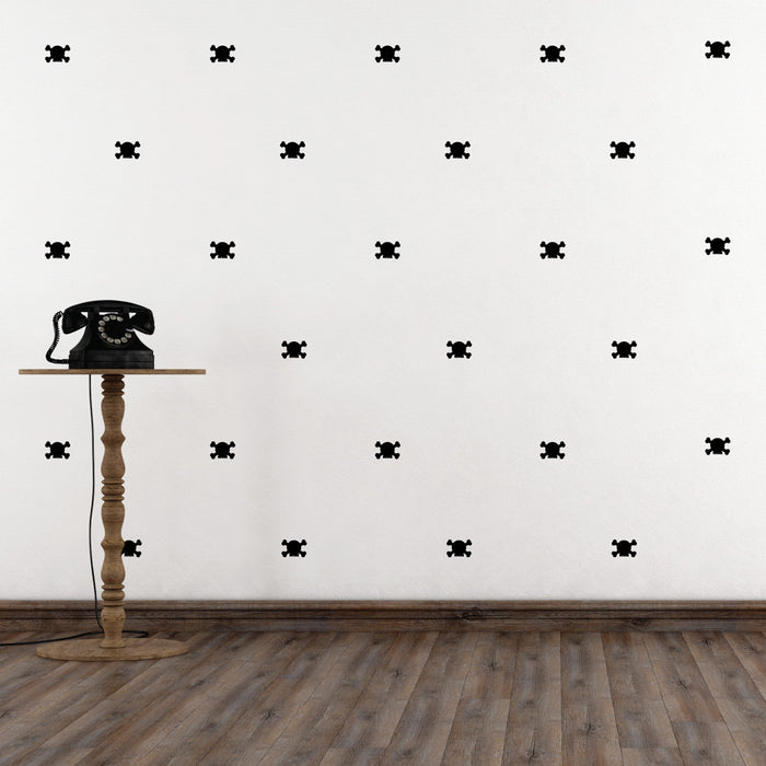 Mini-Pack - Skull wall decal on wall behind telephone | lifestyle