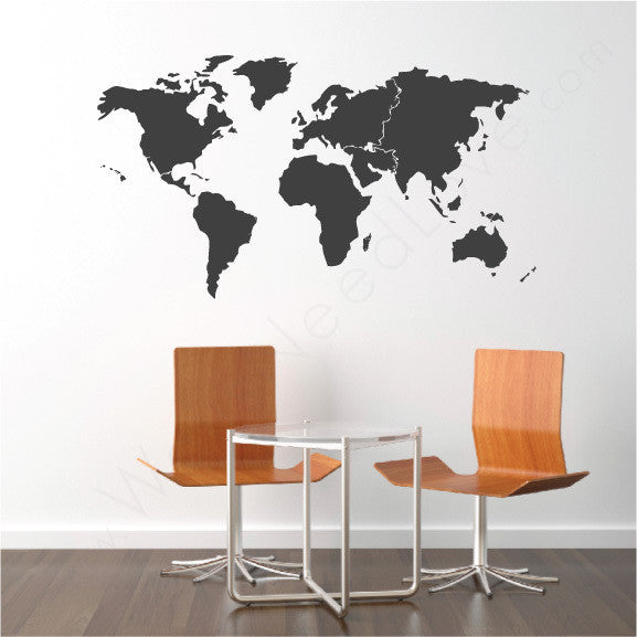 World map vinyl wall decal wallsneedlove world map mount wall decal on wall behind chair lifestyle gumiabroncs Gallery