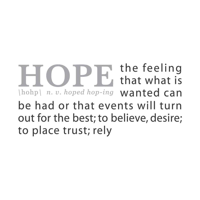 wall quotes wall decals - HOPE: A Definition | lifestyle