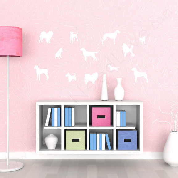 "Dog Silhouettes for Myquillyn of ""The Nesting Place"" Adhesive Print Mount wall decal on wall above shelves!!"