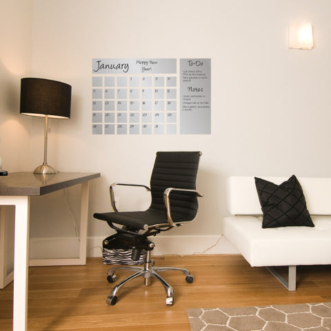Dry Erase Calendar Decal in Silver