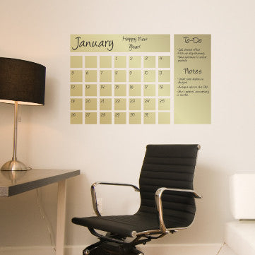 Dry Erase Calendar Decal in Gold & Dry Erase Calendar| Writable Dry Erase Wall Decal| WallsNeedLove