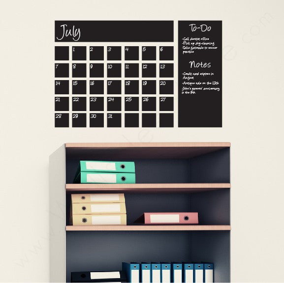 Chalkboard Calendar wall decal on wall above shelves