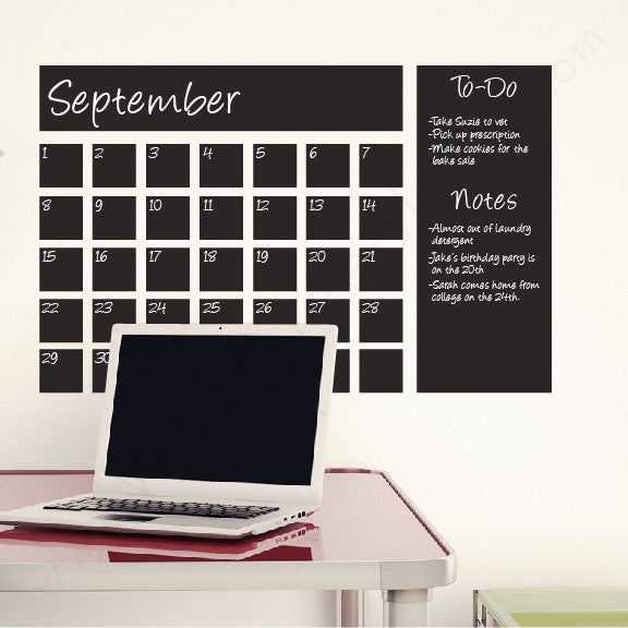 Chalkboard Calendar wall decal on wall!!