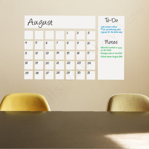 Dry Erase Calendar Decal on wall