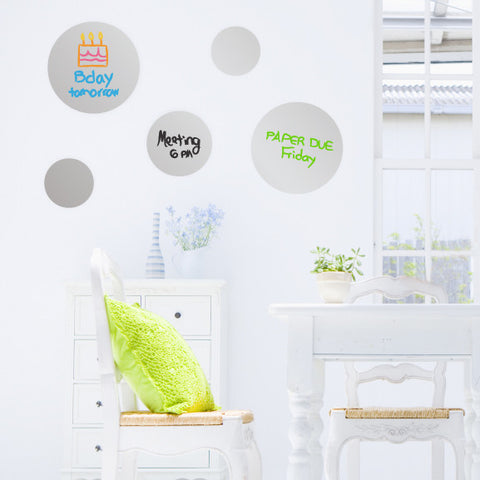 Dry Erase Dot Decals Silver