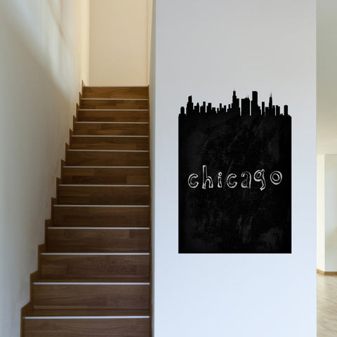 Chicago Chalkboard Skyline wall decal on wall