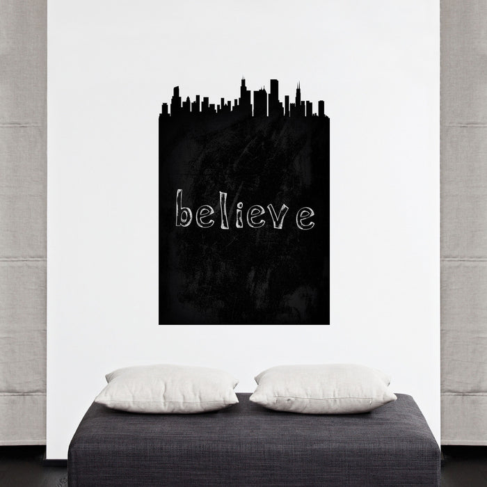 Chicago Chalkboard Skyline wall decal on wall above bed