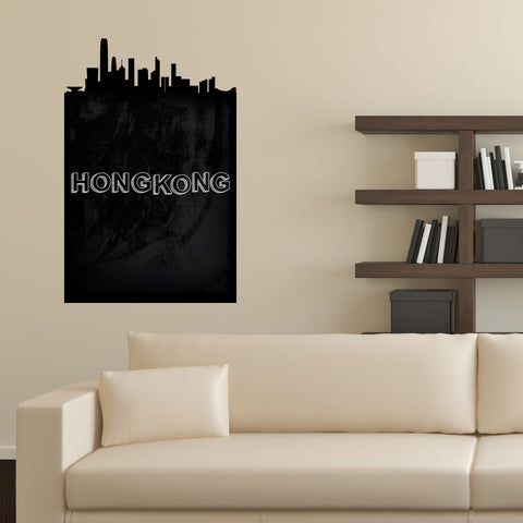 Hong Kong Chalkboard Skyline wall decal