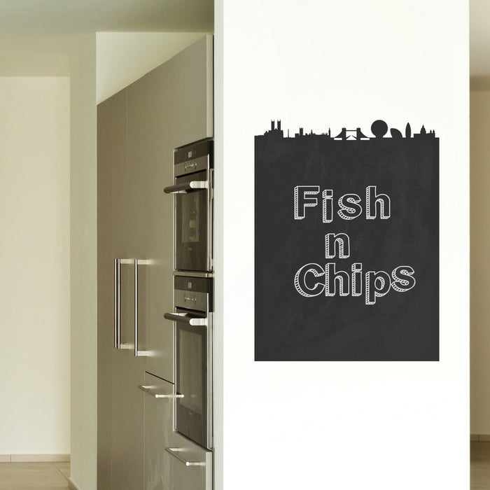 London Chalkboard Skyline wall decal on wall