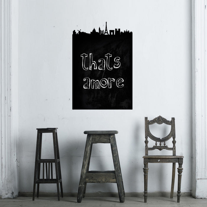 Paris Chalkboard Skyline wall decal on wall