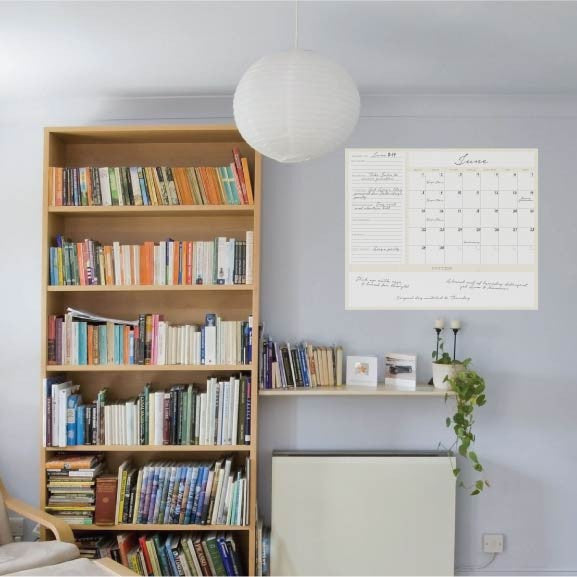 Dry Erase 1-Month Calendar Decal on wall