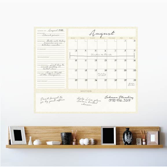 Dry Erase 1-Month Calendar Decal on wall!
