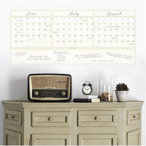 Dry Erase 3-Month Calendar Decal on wall