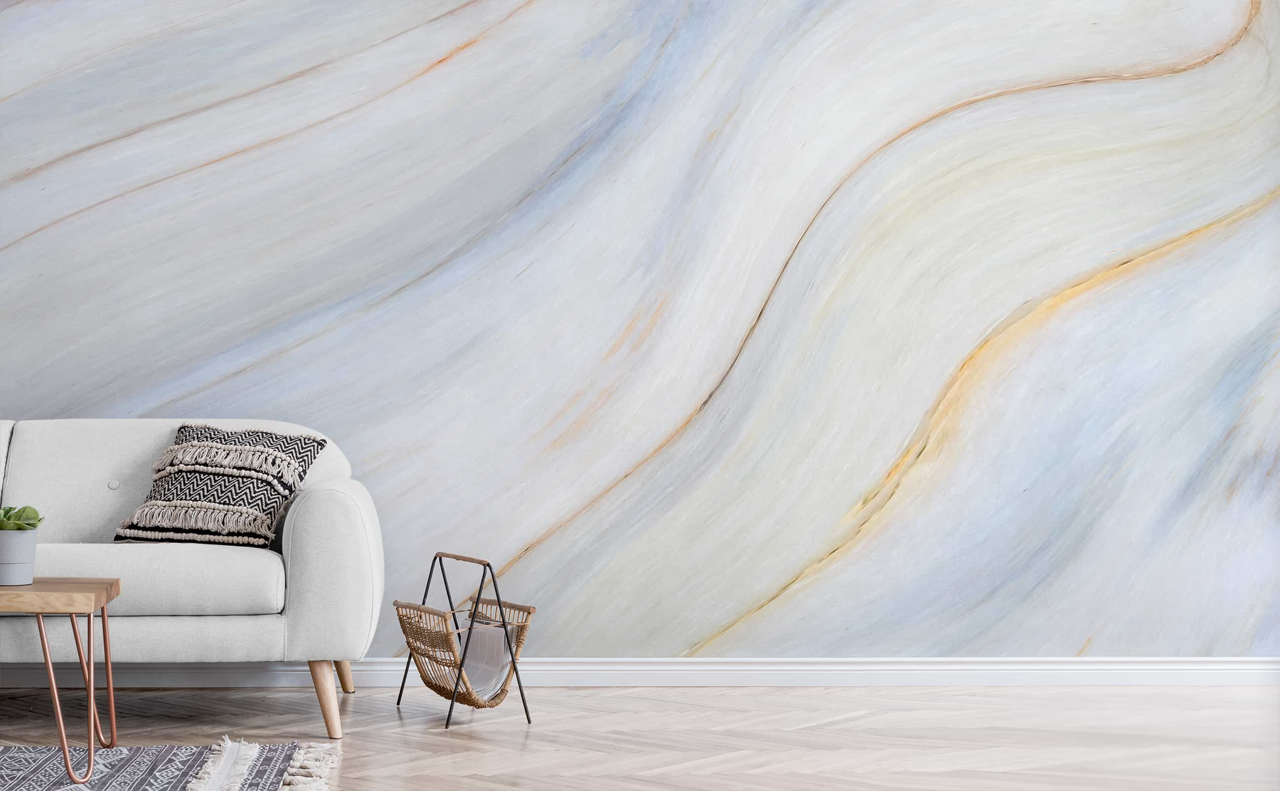 Light Blue Gold Soft Marble Wall Mural River Stone