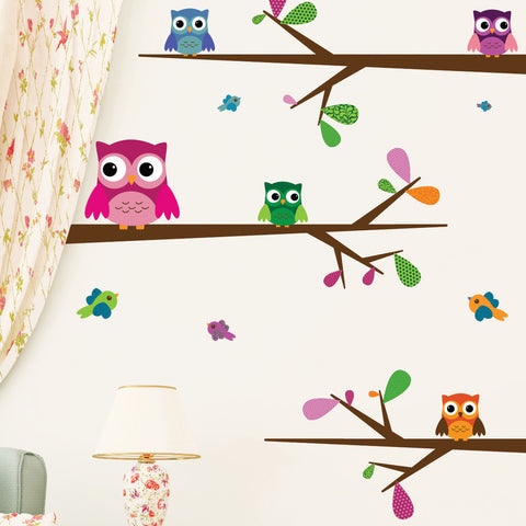Nursery wall decals - Big-Eyed Baby Owls Mount wall decal