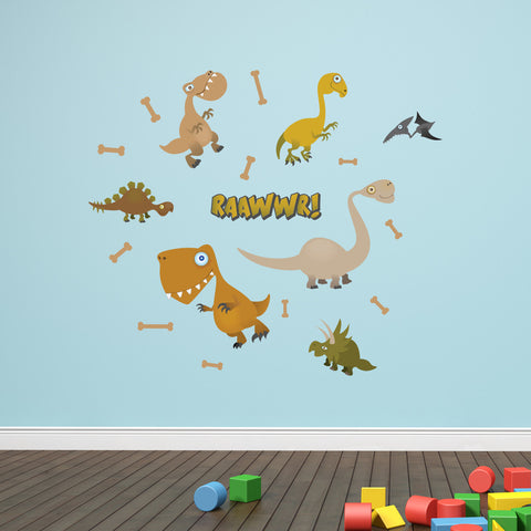 Nursery Mount wall decals - Not-So-Dangerous Dinosaurs