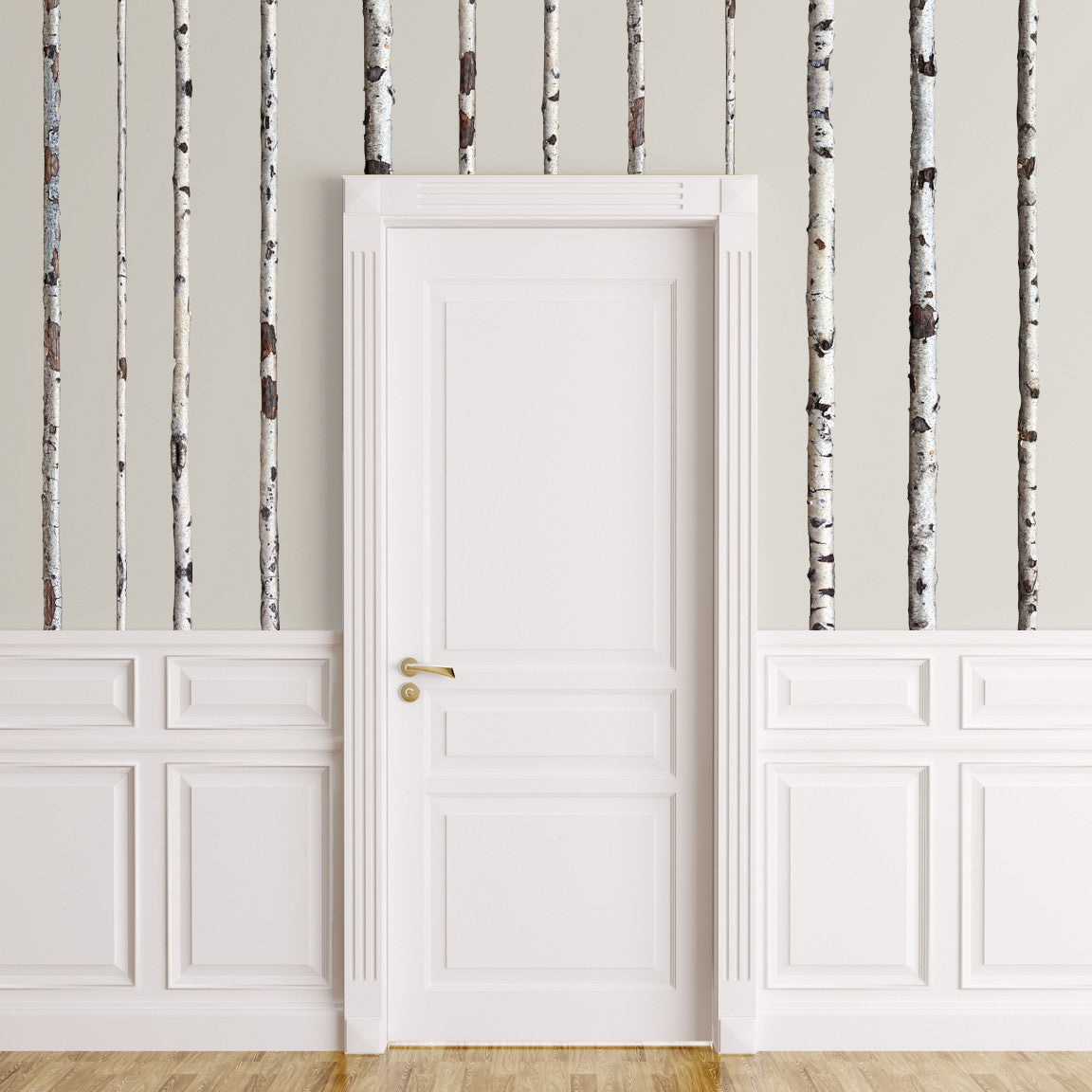 wall decals - Summer Birch Trees on wall behind door!