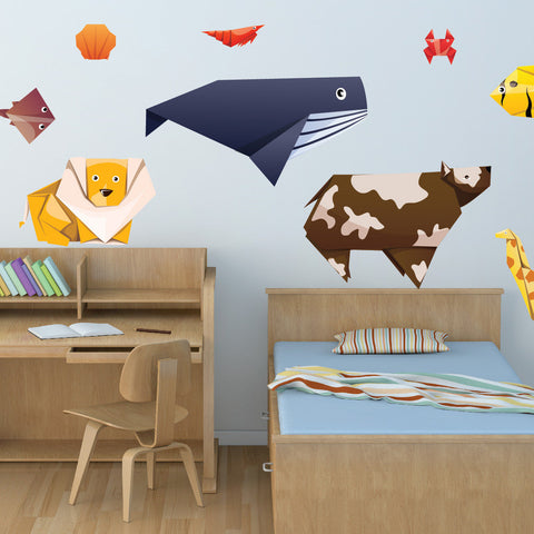 Nursery Mount wall decals - Awesome Origami Animals