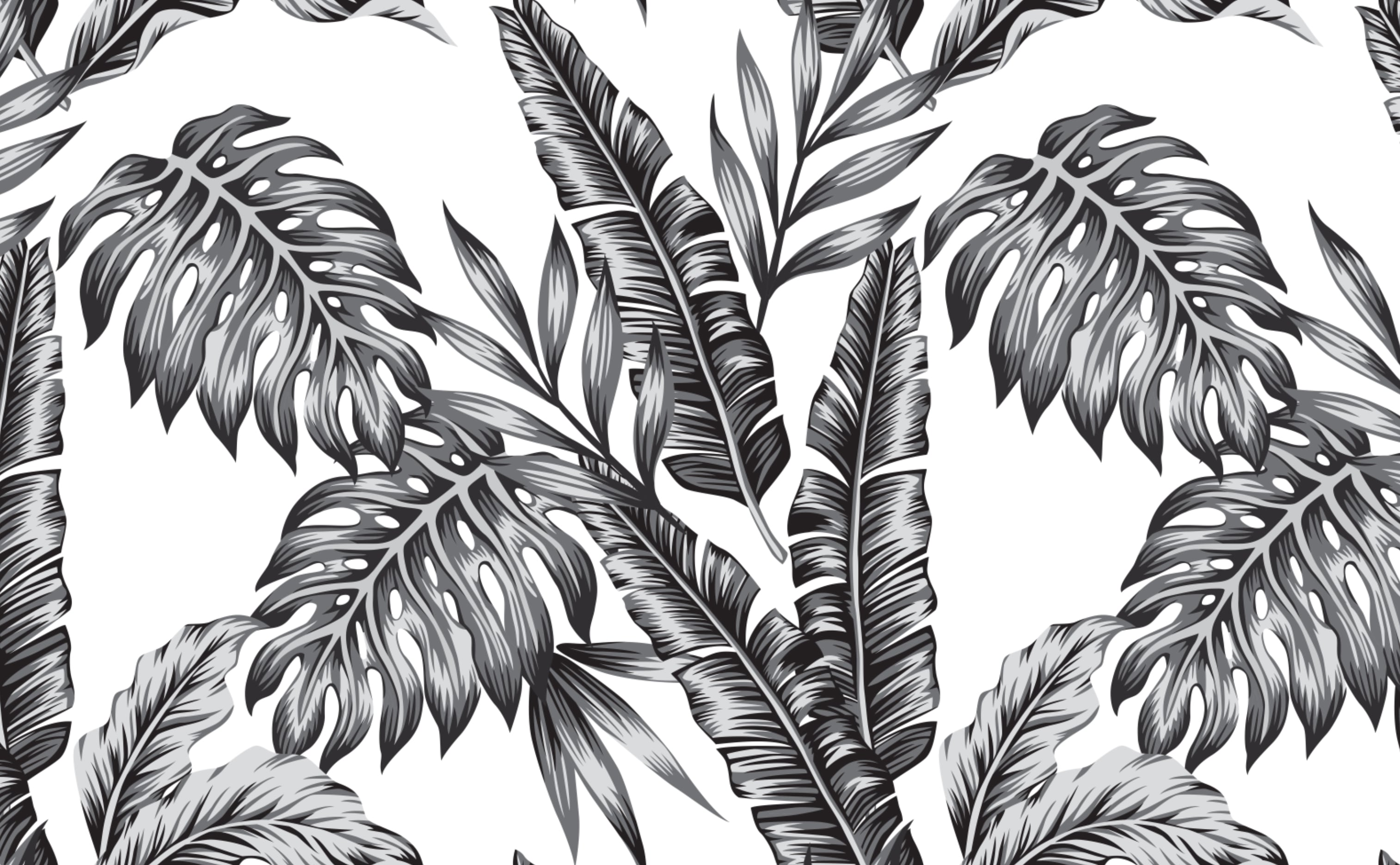 w0074 1s Palm Leaves Tropical Wallpaper for Walls Retro Palms Black Repeating Pattern Sample 1