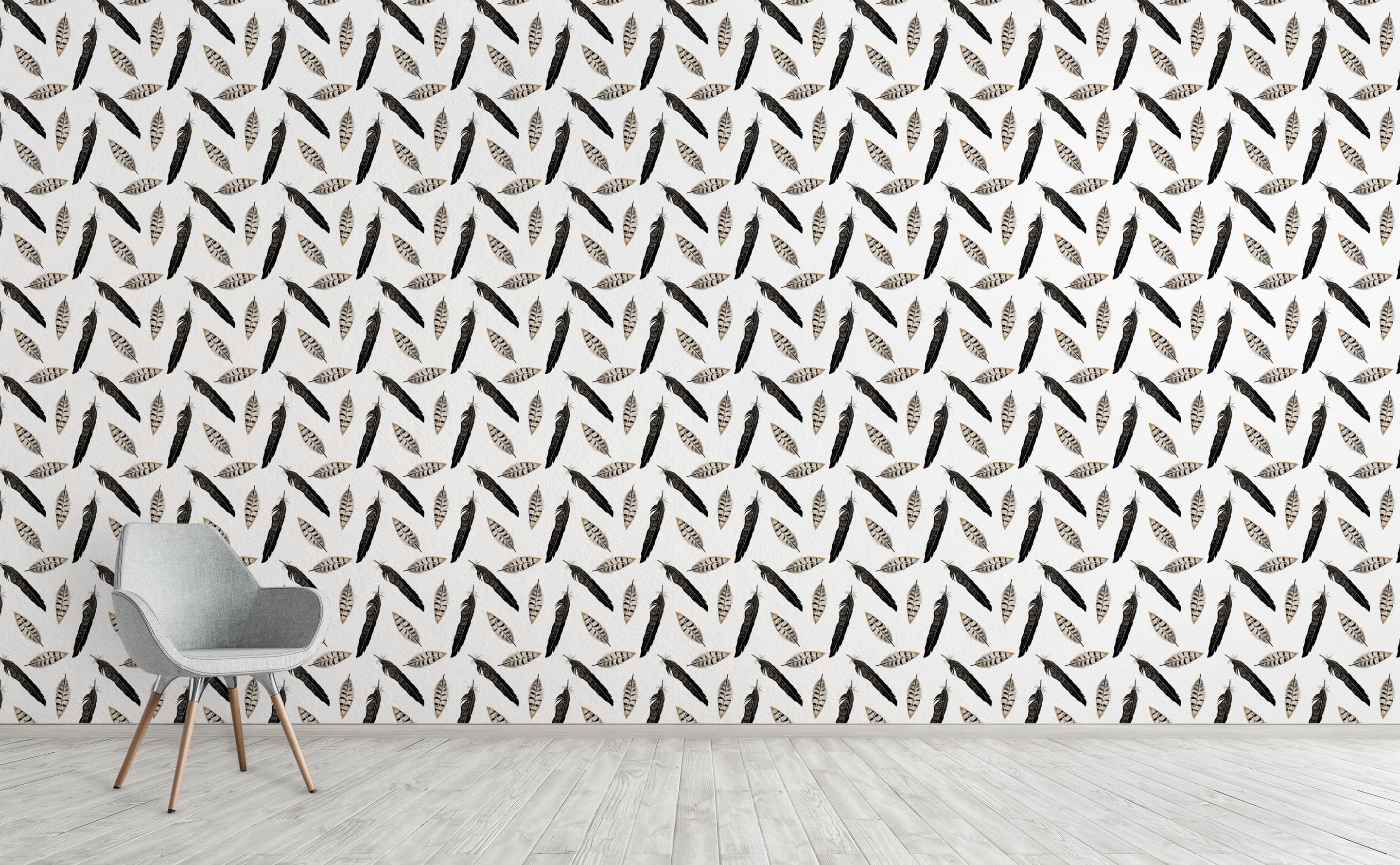 Feathers Wallpaper For Walls Black And White Feathers