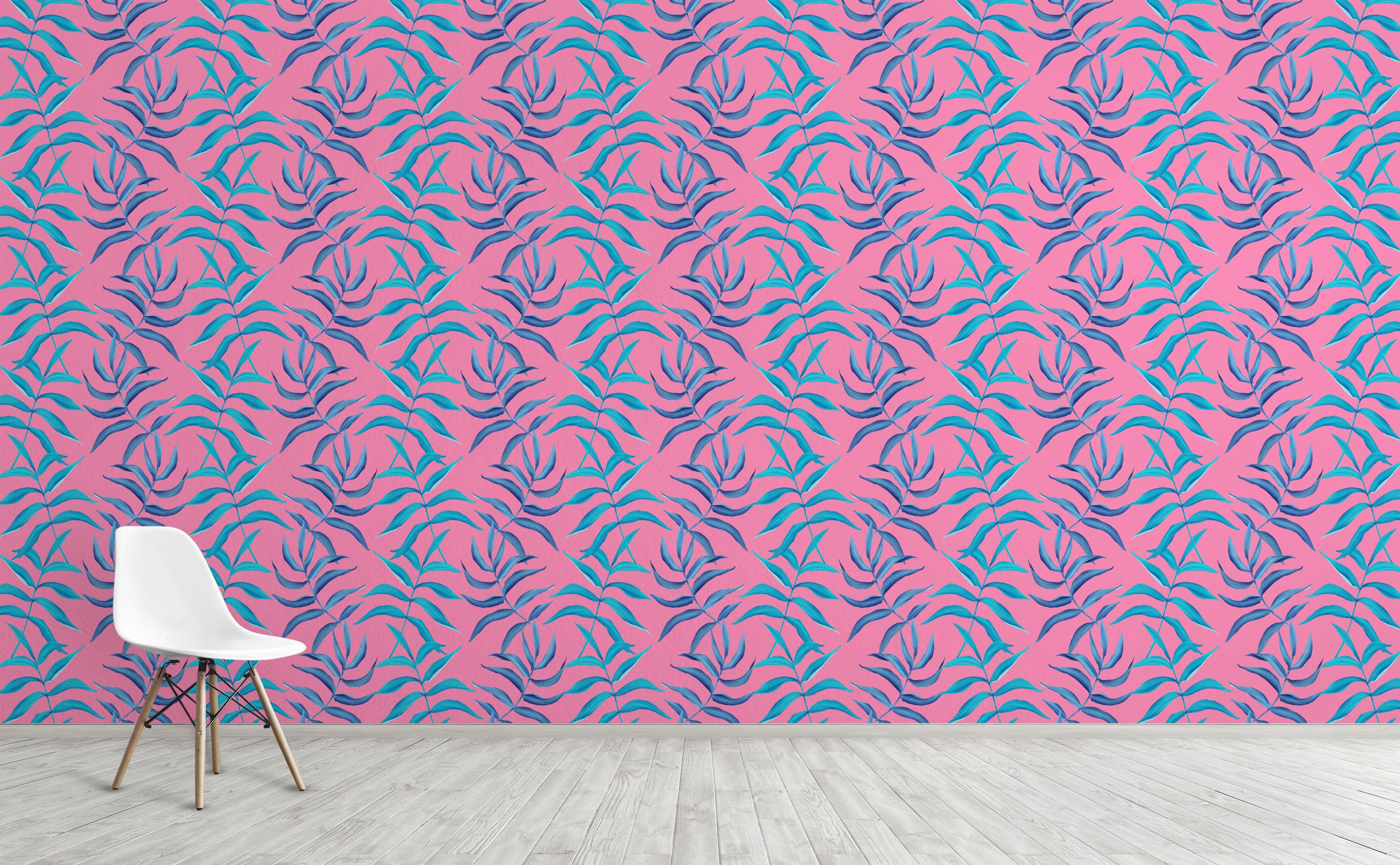 Tropical Leaves Wallpaper For Walls Neon Palms Wallsneedlove