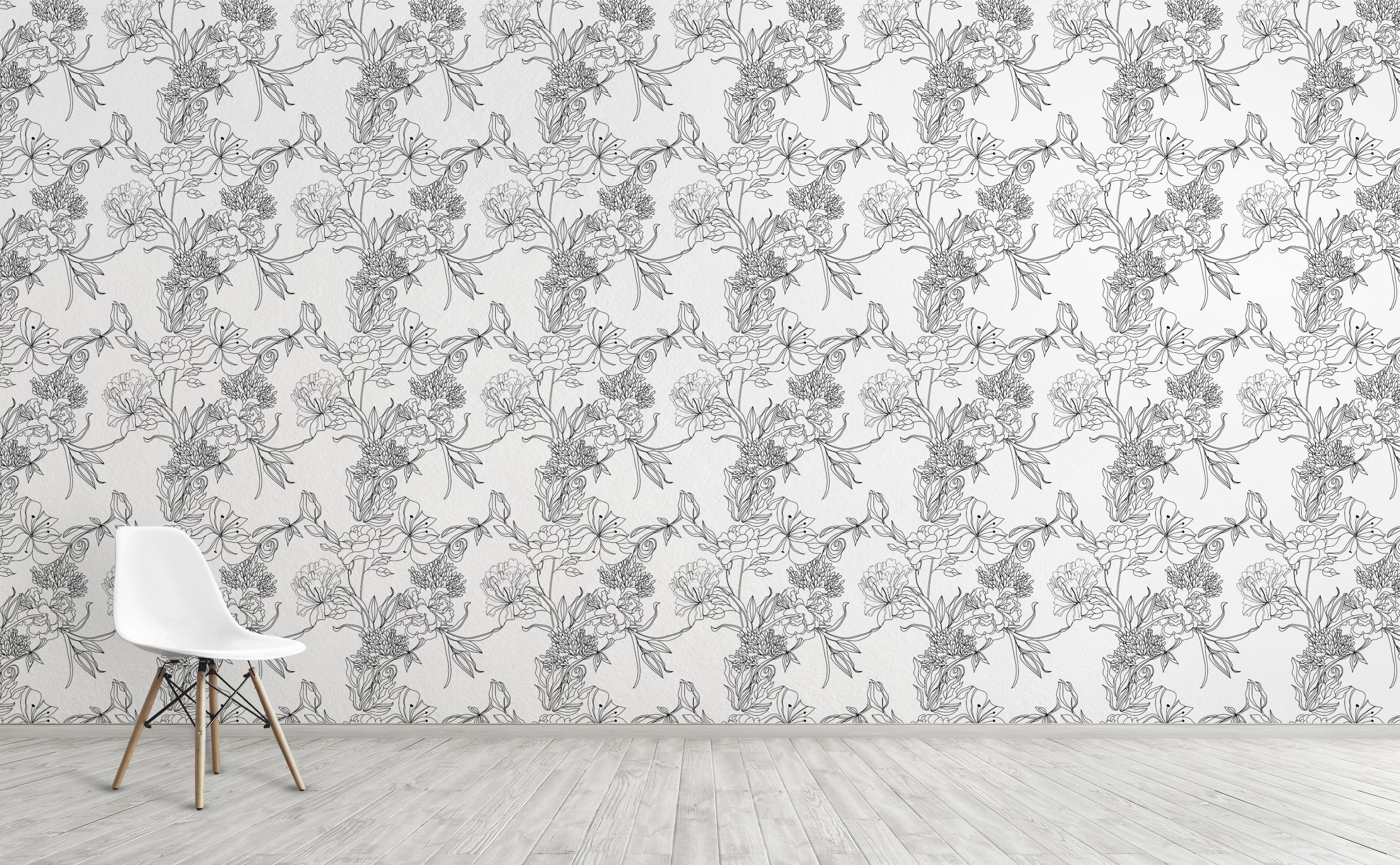 Black And White Floral Pattern Wallpaper For Walls Sketch Floral