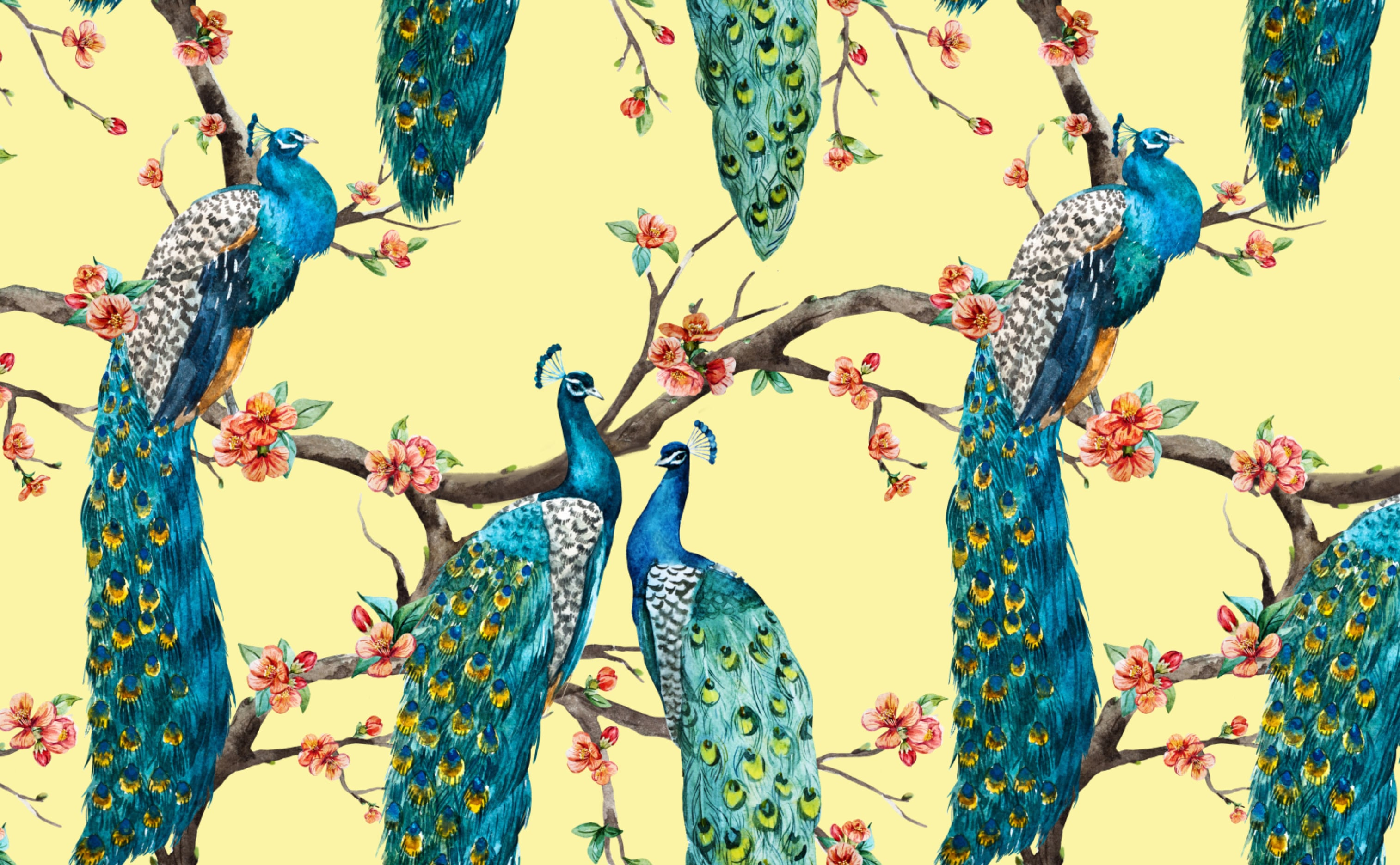 Peacocks Flowers Wallpaper For Walls Victorian Peacocks On Yellow