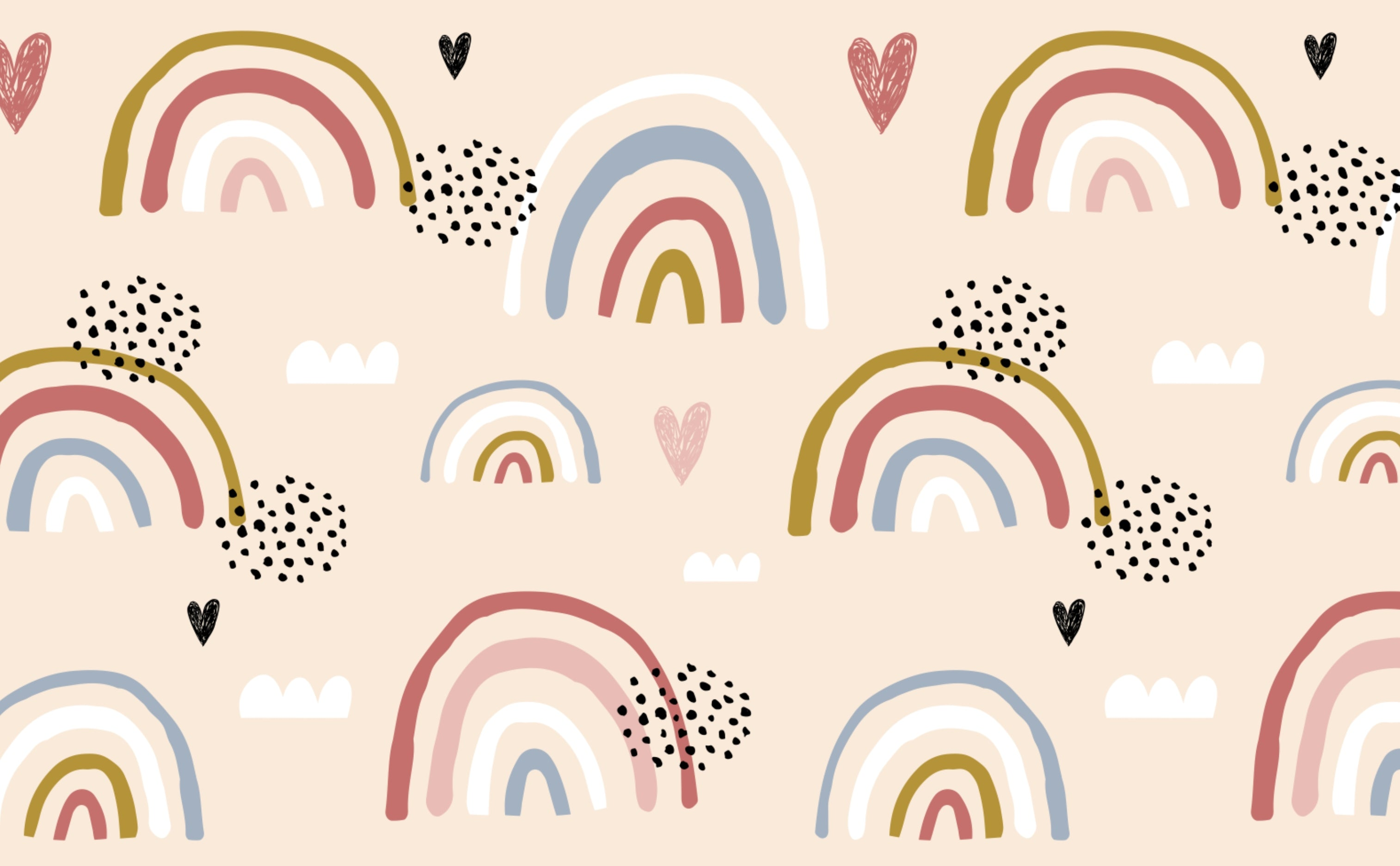 w0516 1s playful modern rainbows wallpaper for walls head in the clouds Repeating Pattern Sample 1