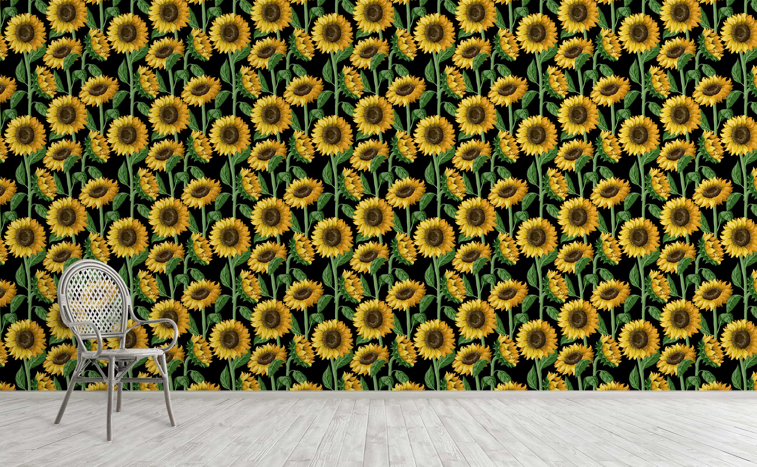 w0547 1s Full color sunflower seamless wallpaper black background Reach New Heights For Interior Walls 9b