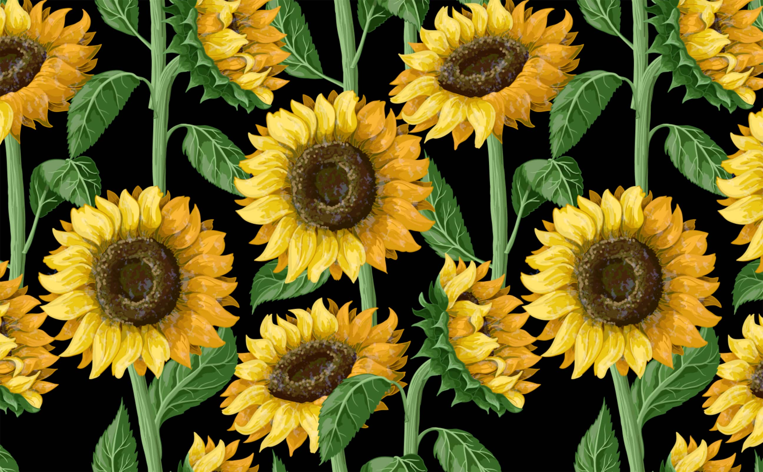w0547 1s Full color sunflower seamless wallpaper black background Reach New Heights Repeating Pattern Sample 1