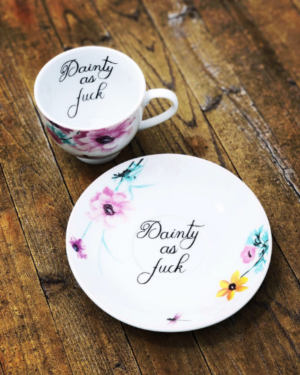 Dainty as fuck | vulgar dragonfly floral tea cup and matching saucer set