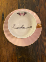 Douchecanoe | vulgar vintage style butterfly china tea cup with matching saucer ( choice of pink, blue or yellow)