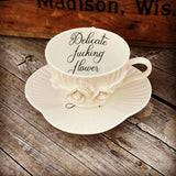 Delicate fucking flower | vulgar vintage style eggshell white bone china tea cup with 3D roses and matching saucer